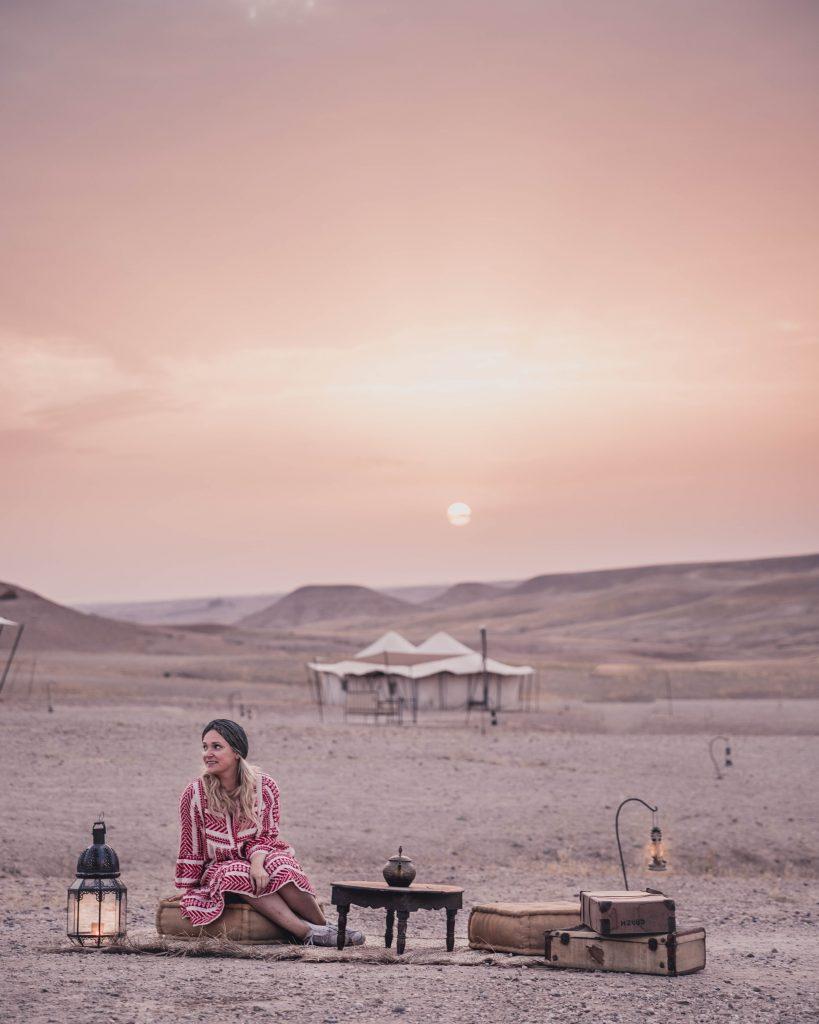 Spending the night at a desert camp in Agafay desert